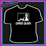GAME OVER LADS STAG PARTY JUST MARRIED FUNNY TSHIRT